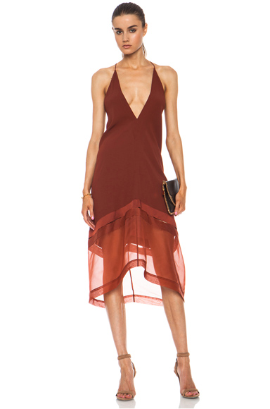 STELLA MCCARTNEY | V-Neck Acetate-Blend Cami Dress in Terracotta