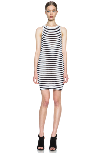 T BY ALEXANDER WANG | Stripe Linen Tank Dress in Ink and White