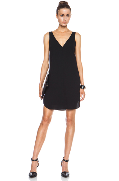 T BY ALEXANDER WANG | V Neck Tank Poly Crepe Dress in Black