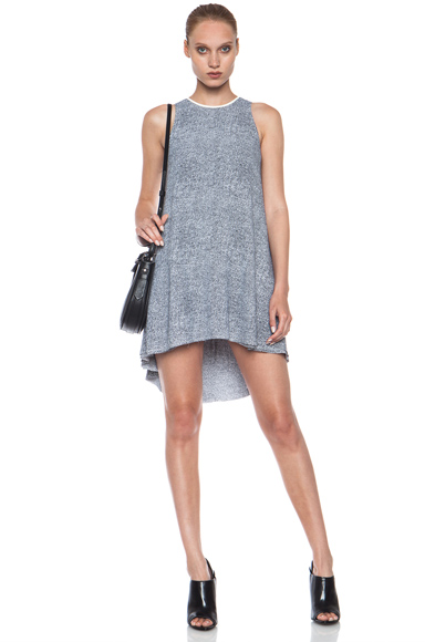 T BY ALEXANDER WANG | Raw Hem Flow Viscose Dress with Leather Trim in Ink and Ivory