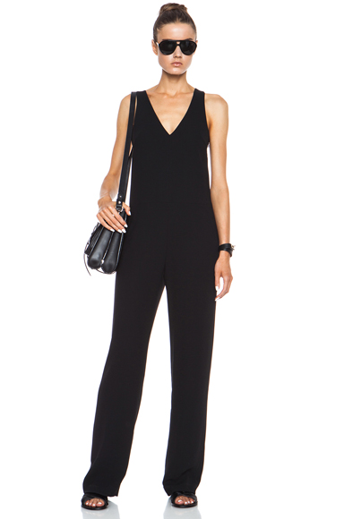 T BY ALEXANDER WANG | V Neck Strap Poly Crepe Romper in Black