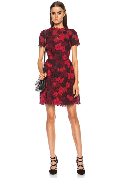 VALENTINO | Macrame Lace Bambolina Dress in Scarlet