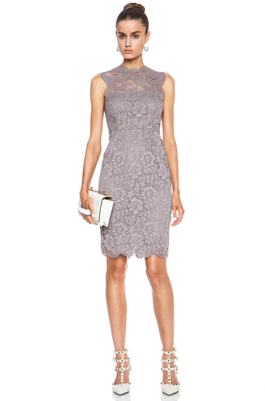 VALENTINO | Tubino Tank Lace Knit Dress in Lilac Grey