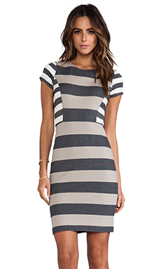 10 CROSBY DEREK LAM RUNWAY Short Sleeve Dress in Combo Stripe