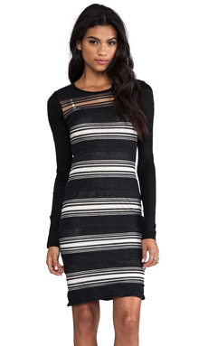 10 CROSBY DEREK LAM Sheer Stripe Long Sleeve Dress in Black