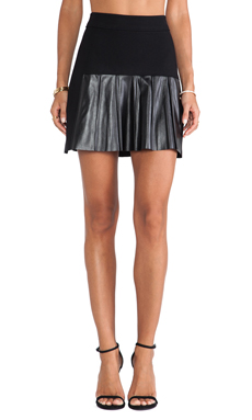 10 CROSBY DEREK LAM Leather Pleats Skirt in Black