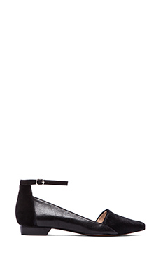 10 CROSBY DEREK LAM Avery Flat with Calf Fur in Black Haircalf