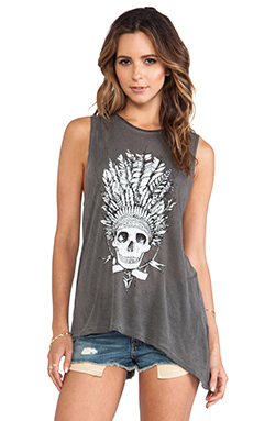 291 Chief Skull Asymmetrical Muscle Tee in Antique Wash Black