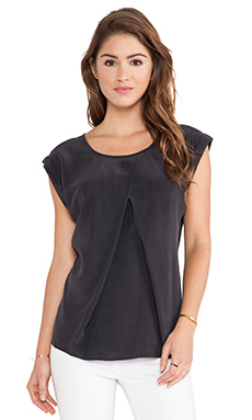 AG Adriano Goldschmied Pleated Rowan Top in Black