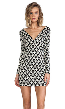 AGAIN Commadore Long Sleeve Deep V Dress in Black/White