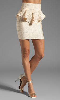 AGAIN Barbizon Embossed Highwaist Peplum Mini Skirt in Cream