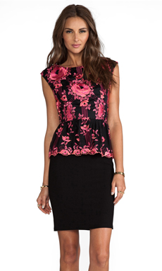 Alice + Olivia Shovan Lace Detail Peplum Dress in Pink