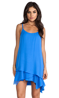 Alice + Olivia Anika Layered Asymmetrical Hem Tank Dress in Ocean Blue