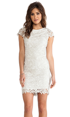 Alice + Olivia Clover Lace Dress in Light Silver
