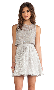 Alice + Olivia Hilta Beaded Dress in Grey
