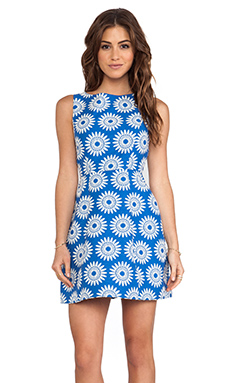 Alice + Olivia Epstein Structured Pouf Dress in Blue & White