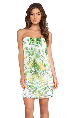 Alice + Olivia Jazz Center Strapless Dress in Sunburst Palm