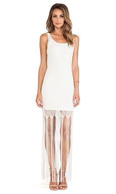 Alice + Olivia Lena Crochet Fringe Dress in Cream Metallic