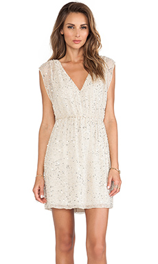 Alice + Olivia Nelson Embellished V Neck Dress in Natural & Silver