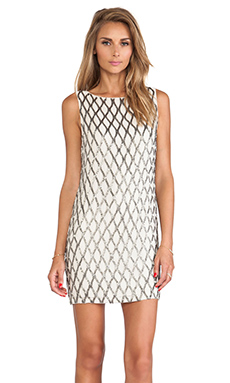 Alice + Olivia Dalyla Beaded Dress en Galet & Acier
