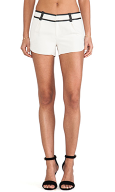 Alice + Olivia Leather Trim Butterfly Shorts in Bone & Black