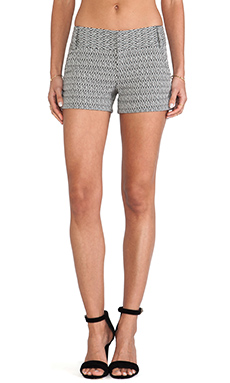 Alice + Olivia Cady Cuff Shorts in Black & White