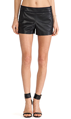Alice + Olivia Leather Piped Shorts in Black