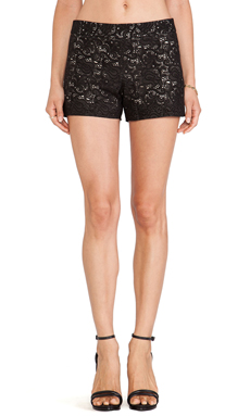 Alice + Olivia Leather Laser Cut Shorts in Black