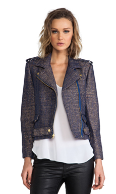 Alice + Olivia Kellen Cropped Army Zip Jacket in Blue/Gold
