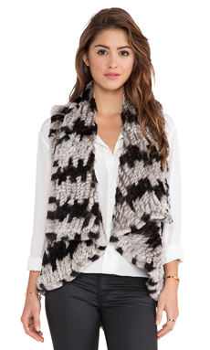 Alice + Olivia India Real Rabbit Fur Cascade Vest in Grey & Black