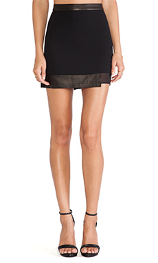 Alice + Olivia Andra Layered Mini Skirt in Black