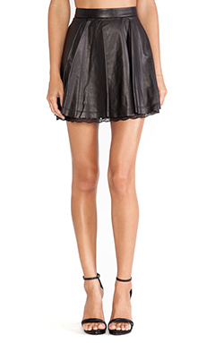 Alice + Olivia Blaise Lace Hem Leather Skirt in Black