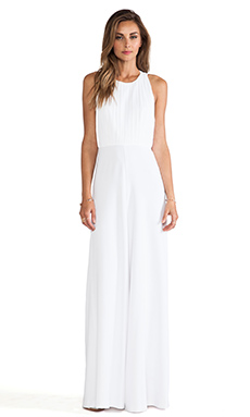 Alice + Olivia Gab Pleated Halter Jumpsuit in White
