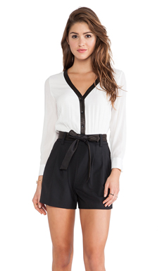 Alice + Olivia Baron Button Down Romper in Black