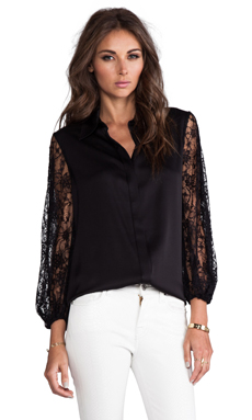 Alice + Olivia Serena Slit Sleeve Hidden Placket Blouse in Black