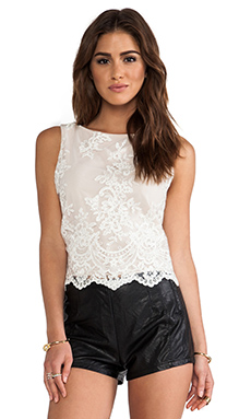 Alice + Olivia Amal Boatneck Lace Tank in Cream