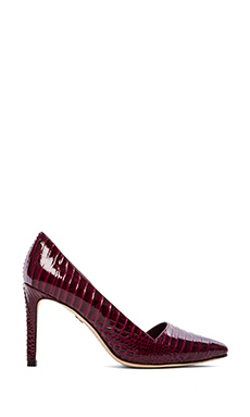 Alice + Olivia Dina Croc Embossed Pumps in Plum