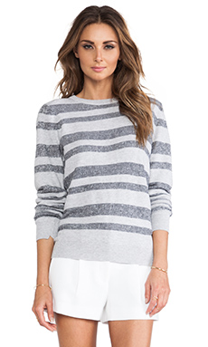 A.L.C. Cooper Stripe Sweater in Light Grey & Navy