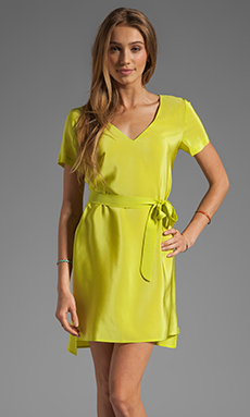 Amanda Uprichard Silk V Neck T Shirt Dress in Lime