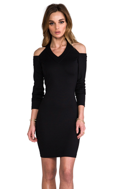 Amanda Uprichard Cold Shoulder Dress in Black
