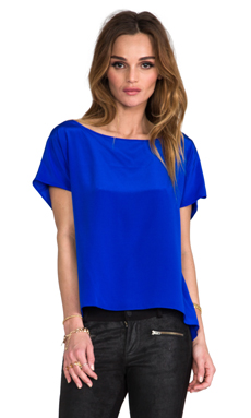 Amanda Uprichard Solid Silk Tee in Royal