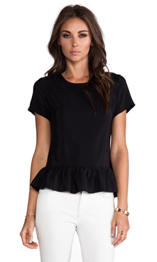 Amanda Uprichard Alyson Top with Sleeve in Black