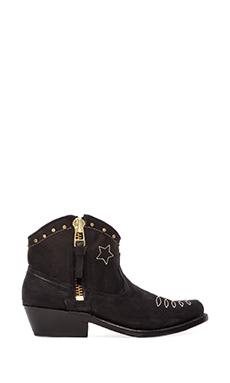 ANINE BING Cowboy Boots in Black/Gold
