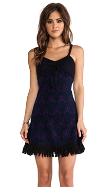 Anna Sui RUNWAY Stained Glass Knit Jacquard Dress in Indigo Purple