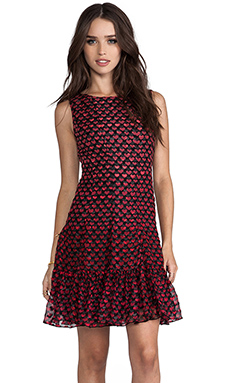Anna Sui Ombre Hearts Print Dress in True Red