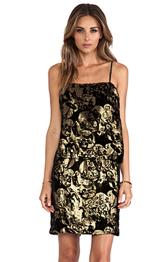 Anna Sui Village Burnout Mini Dress in Black Multi