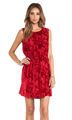 Anna Sui Village Burnout Mini Dress in Ruby