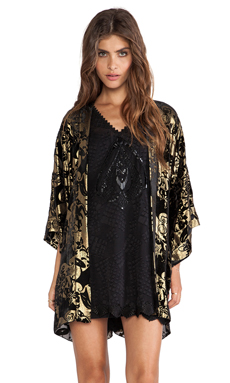 Anna Sui Village Burnout Velvet Kimono in Black Multi