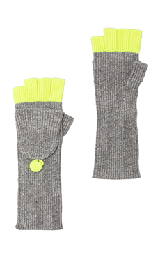Autumn Cashmere 2 Tone Convertible Fingerless Gloves in Cement/Day Glo