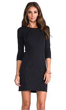 Autumn Cashmere Body Con Dress With Leather Piping in Pepper/Black